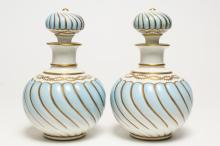 Porcelain Dresser Bottles, Pair Lobed & Gilt