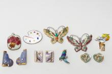 Costume Jewelry, Enameled Copper & Other, 10 Pcs