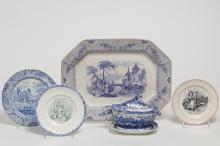 Antique Transferware Porcelain Serving Dishes, 5