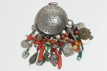 Islamic Silver Box with Coral & Trade Bead Fringe