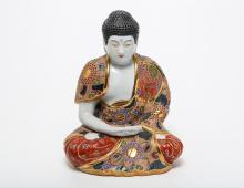 Japanese Satsuma Porcelain Seated Buddha