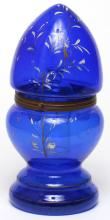 Bohemian Hand-Painted Blue Glass Tantalus