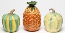 3 European Hand-Painted Ceramic Fruit Containers