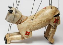 Indian Painted Wood Cat Marionette
