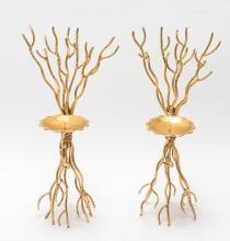 Michael Aram Style Gilt Metal Twig Candle Sconces