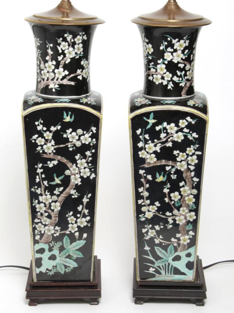 chinese famille noir square vase lamps pair. Black Bedroom Furniture Sets. Home Design Ideas