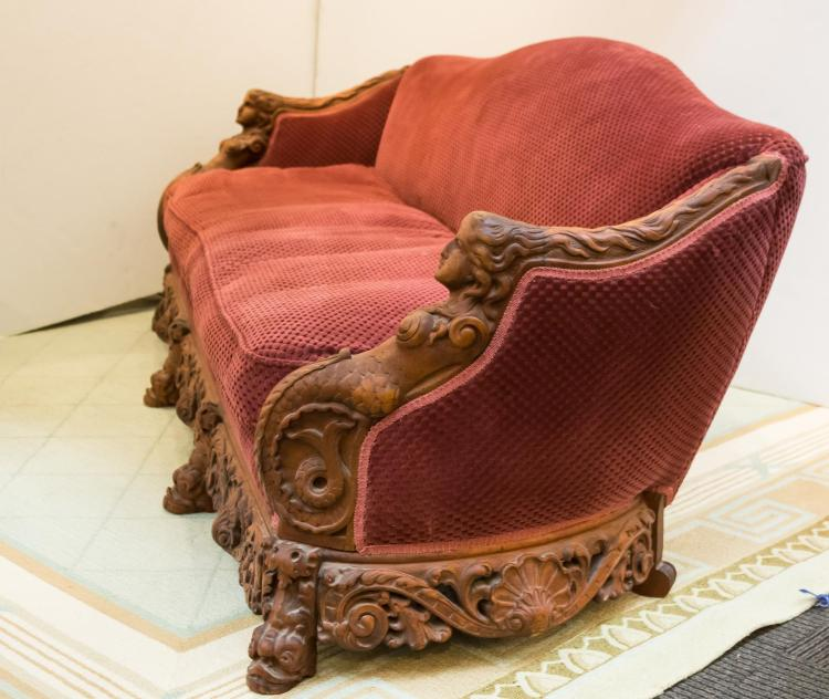 Victorian Revival Carved Wood Upholstered Sofa