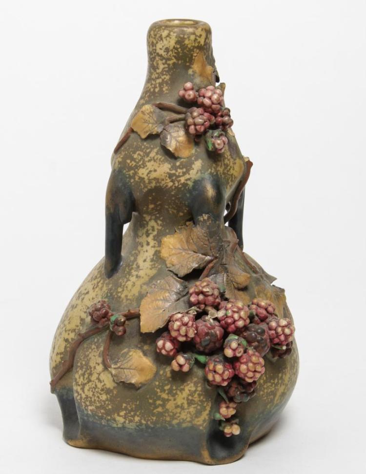 Art Nouveau Edda Austrian Pottery Amphora Vase