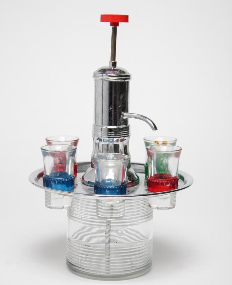 mid century modern barware shot glass carousel