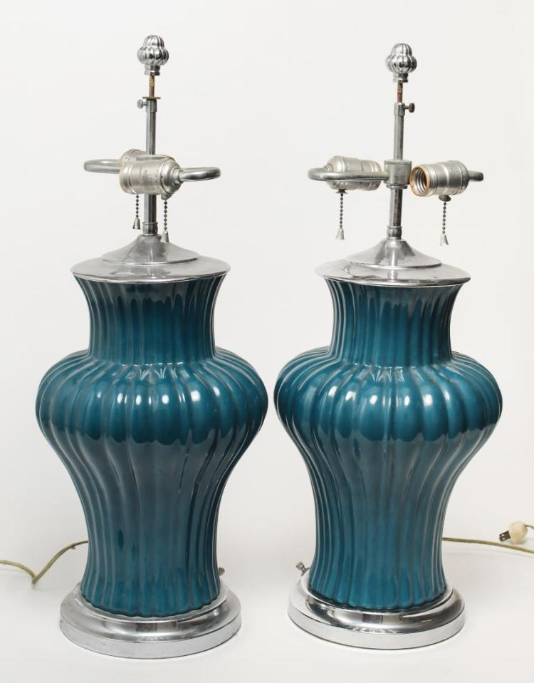 Mid Century Modern Teal Ceramic Table Lamps