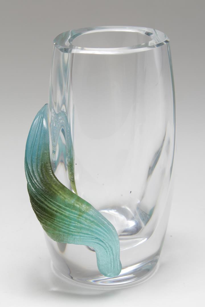 daum france modernist crystal pate de verre vase. Black Bedroom Furniture Sets. Home Design Ideas