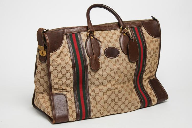 01fc9adf06bc Vintage Gucci Travel Duffel Bag, Monogram Canvas
