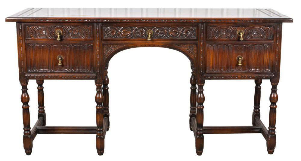 American Aesthetic Carved Oak Sideboard