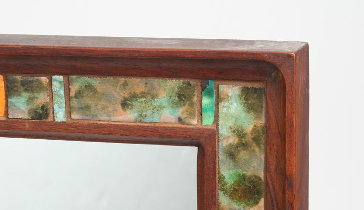 Contemporary Enamel Tile Inlaid Oak Wall Mirror