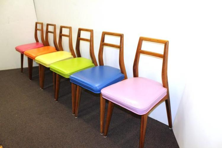 Mid Century Modern Dining Chairs In Rainbow Upholstery