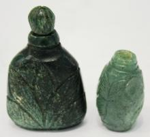 2 Chinese Carved Nephrite Snuff Bottles
