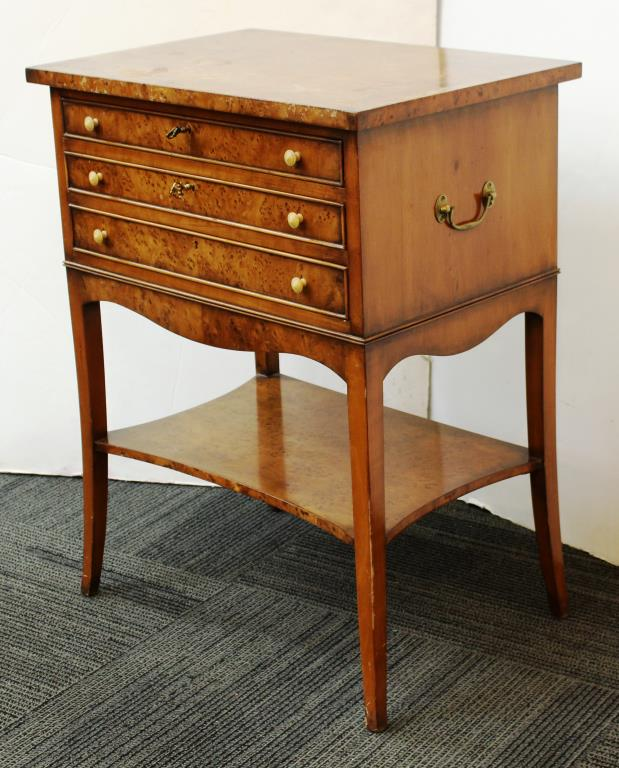Smith Watson Yew Wood 3 Drawer Table
