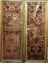 Pair Chinese Silk Velvet & Gold Thread Seat Covers
