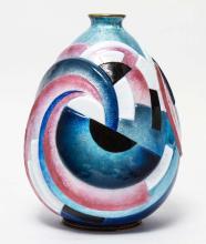 Camille Faure Rare French Art Deco Enamel Vase
