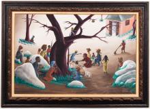 "Bourmond Byron Haitian ""Ritual"" Oil on Board"