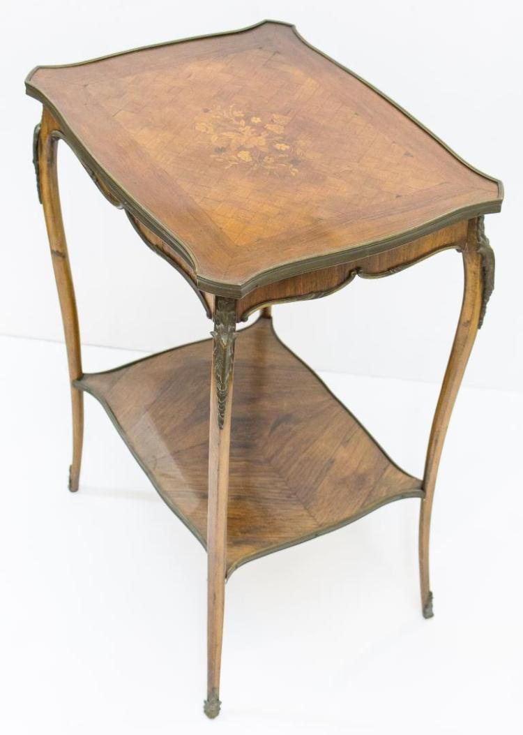 Louis xv style parquetry ormolu side table - Table de chevet louis xv ...
