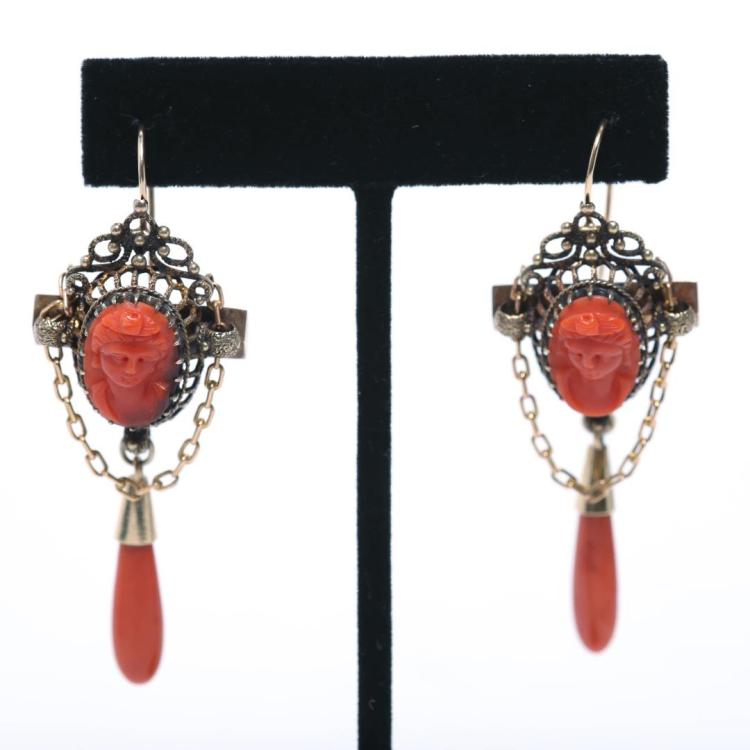 85af30a7e Coral Cameo Earrings, Antique in Ornate 14K Gold