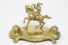 Antique Cast Brass Inkstand with Equestrian Figure