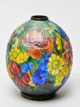 Camille Faure Art Nouveau Floral Enameled Vase