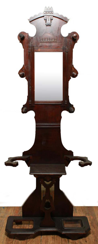 Eastlake Carved Wood Hall Stand W Mirror