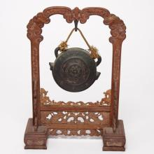 Asian Table Gong, Bronze, on Carved Wood Stand