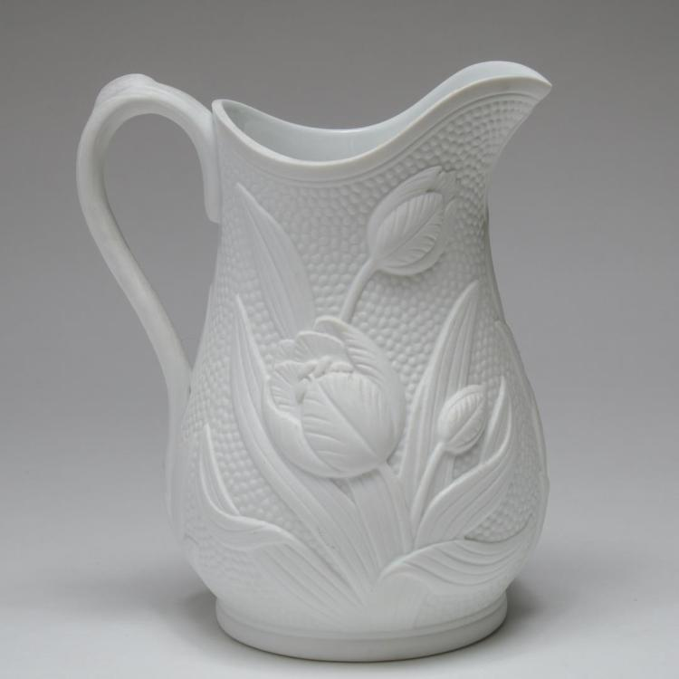 Tiffany Co White Bisque Porcelain Tulips Pitcher
