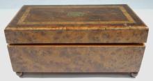 Vintage Burlwood & Marquetry Swiss Music Box