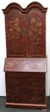 Chinoiserie Red-Painted Secretary-Bookcase