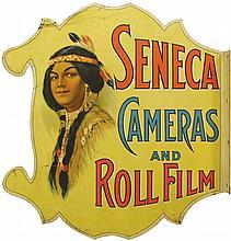 Seneca Cameras and Roll Film Die Cut Flange Sign