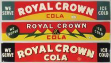 Three Royal Crown Cola Embossed Tin Signs