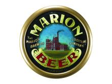 RARE MARION BREWING CONVEX REVERSE GLASS SIGN