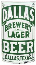 RARE DALLAS BREWERY LAGER CORNER PORCELAIN SIGN