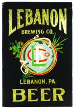 LEBANON BREWING CO. REVERSE GLASS BEER SIGN