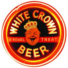 WHITE CROWN BEER REVERSE GLASS NEON CAN SIGN
