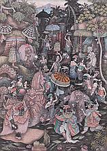 Kaler, Wayan (b. Panestanan, Ubud, Bali, 1960) - Festival di Pura