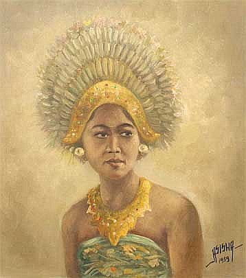 Asisha Gadis Bali 1959 oil on canvas 50 x 45 cm