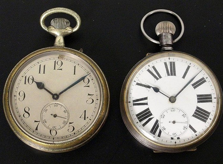two large pocket watches ca 1920 metal