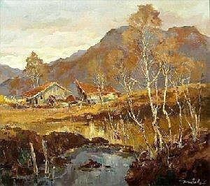 [ Painting ] TRATZL, ROBERT geb. 1913 in Munchen Geisach bei Bad Tolz. Ol/Lwd., signiert. 90x100cm,