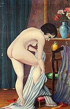 HAGUAY, S. 20thcentury After bathing. Oil on