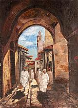 BERCOVICI, B. France 1931 Souq in Tunis. Oil on