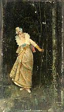DEWEZE GUSTAVE French painter ca. 1880 Elegant