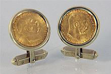 A PAIR OF GOLD CUFFLINKS 585/000 yellow gold with a 10