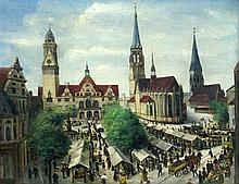 ERDMANN German painter ca. 1900 Market day on the