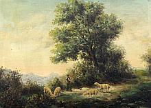 BATAZZI, A. Italian painter, 20th century Shepherd with sheep