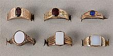 A LOT OF 6 ANTIQUE MANS RINGS Gilt silver, some